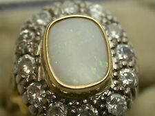Antique 18ct Gold Opal & Diamond Cluster Ring 1.5ct DIA Large Australian Opal