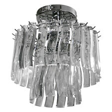 Modern Round Chrome Acrylic Crystal Droplet CEILING LIGHT CHANDELIER Lighting