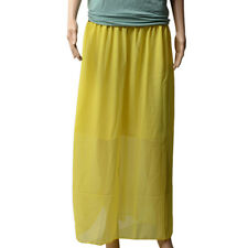 Lady Women's Yellow Double Layer Chiffon Long Maxi Dress Elastic Waist Skirt New