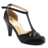 CHASE & CHLOE KIMMY-36 Women's Teardrop Cut Out T-Strap Mid Heel Dress Pumps 10M