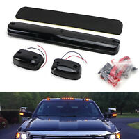3pc Full Amber LED Cab Roof Marker Light Assy For 07-up Chevy GMC 2500HD 3500HD