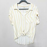 Umgee Women's Striped Collared Button Up Blouse Frayed Hem Yellow White Large