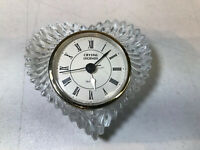 "CRYSTAL LEGENDS BY GODINGER 24% LEAD CRYSTAL QUARTZ DESK 2 1/2"" CLOCK"
