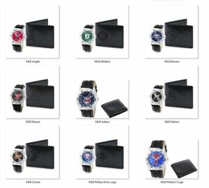 MLB Men's Black Watch and Leather Wallet Set by Game Time -Select- Team Below