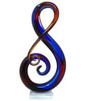 "Luxury Lane Hand Blown ""Treble"" Sommerso Art Glass Sculpture 16"" Tall"