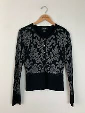 White House Black Market Snap Silk Blend Cardigan Sweater Size Medium M