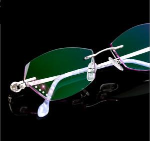 Deluxe Women Cutting Trimming Eyeglass Frame Gradient Eyewear Glasses Diamond