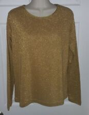 White Stag Gold Glitter Shimmer Stretch Sweater Top Large 8/10