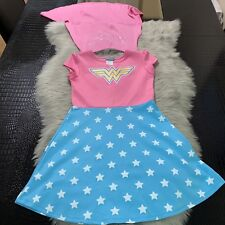 Wonder Woman Pink Blue Girls Costume Dress Size L 10/12 W/ Cape Cute!