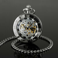 Mens Pocket Watch Mechanical Silver Dial Hand-winding Classic Retro Gift Luxury