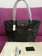 Auth Longchamp Le Pliage Graphite Nylon Tote Bag Horse Embroidery L