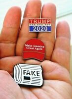 "3 President Trump Pins---""Trump 2020""--""Make America Great Again""--""Fake News"""