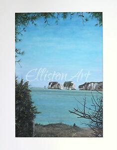 Original Swanage Seascape Landscape Gouache Watercolour Landscape Painting