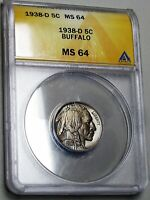 1938-D Buffalo Nickel ----  MS-64 ANACS Slabbed Graded ---- #742