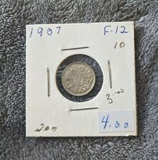 1907 Canadian Small Silver 5 Cent Coin ( Possible F Grade )