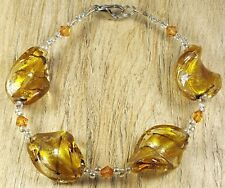 *Freedom Tree*  Amber Gold Silver Foil Murano Glass Twist Bead Bracelet