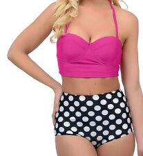 Ladies/Women High Waisted Retro-Style Bikini Swimsuit Polka Dot/Red/Pink-Large