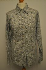 Ladies Long Sleeved Shirt GAP Cotton Colour Ivory background Blue Floral Pattern