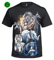 THE ZOO GLOW INTHE DARK T-Shirt/Tiger/Lion/Elephant/Bear/Animal/Mens/Kids/tshirt