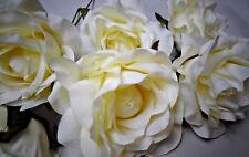 6 large ivory ARTIFICIAL openSILK(N0TFOAM) ROSE STEM FAUX  FLOWER WEDDING/DECOR