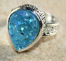 SILVER Vintage Style Sky Blue Rainbow Titanium Druzy Teardrop Ring Size 6