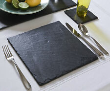 8 Piece Slate Square 4 Placemats & 4 Coaster Set Mats Tablemats Cheese Board Cup