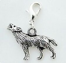LOVELY SILVER TONE WOLF HOWLING AT THE SKY  CLIP ON CHARM FOR BRACELETS -  NEW