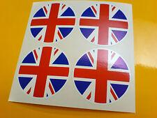 UNION JACK England Car Wheel Centre Helmet Bumper Stickers Decals 4 off 50mm