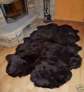 Schaffellteppich, Schaffell Teppich, braun, Größe ca. 200x120cm / aus 4 Fellen
