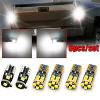 6Pcs T10 LED Car Backup Reverse High Mount License Plate Light Bulb Accessories