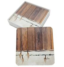 Drink Coasters Feather Cork Back Glossy Top Dining Kitchen *Set of 6*