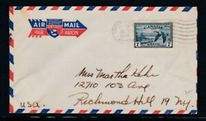 CANADA Commercial Cover Château Lake, AB to Richmond Hill, NY 22-7-1946 Cancel