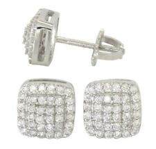 Mens 8mm Square Studs 14k Gold Plated Cz Hip Hop Screw Back Stud Earrings