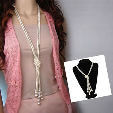 Women Girl Faux Pearls Long Sweater Chain Charms Knot Necklace Collar Jewelry