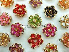 Wholesale jewelry lots 15pcs Flower Resin Crystal Rhinestone Rings FREE