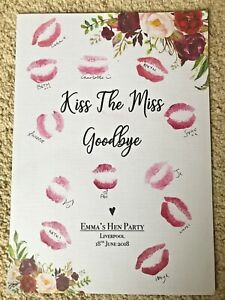 Kiss the Miss Good Bye A4 A3 Print Hen Party Bride to Be Gift Personalised