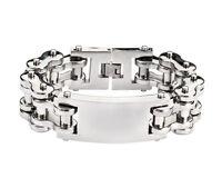 Men's Stainless Steel THICK Silver ID  Bike Chain Bracelet USA Seller!