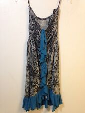 Gado Gado Womens Small Black White Floral Blue Trim Strapless Dress