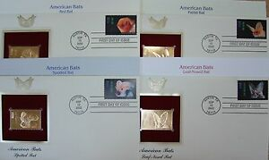 22K Gold 2002 American Bats 1st Day Covs Set of 4 Gold Proof Replica Stamps w/Ad