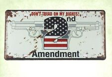 Us Seller-photo plaques Don't Tread on My Rights 2nd Amendment tin car plate