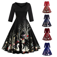 Swan 50s Black Swing Housewife Rockabilly Vintage Pinup Evening Party Prom Dress