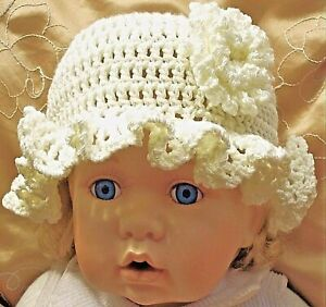 BABY GIRLS SUN HAT vintage new gift for 0 3 6 month CREAM BRIM crochet knitted