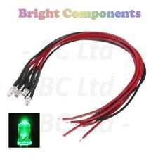 5 x Pre-Wired Green LED 3mm Ultra Bright : 9V ~ 12V : 1st CLASS POST