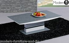 MODERN GREY AND WHITE HIGH GLOSS COFFEE TABLE, GREY AND WHITE GLASS TABLE