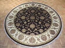 8 X 8 Round Hand Knotted Chocolate Brown Tabriz With Silk Oriental Rug G1753