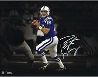 Peyton Manning Indianapolis Colts Signed 11x14 Blue Dropback Photo - Fanatics
