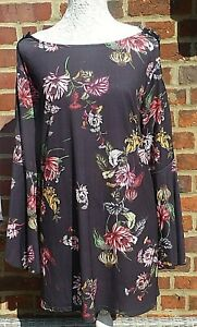 Ladies 3/4 Sleeve Tunic Top -Lace up Arm Detail- Black/Multi Floral- UK Size 20