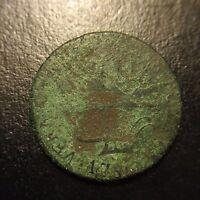 1786 Vermont Copper Vermontensium Landscape Colonial Copper Coin XF Details