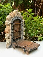 Miniature Dollhouse FAIRY GARDEN ~ Fairytale ENCHANTED Door w Drawbridge ~ NEW