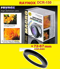 Raynox DCR-150 CLOSE UP MACRO LENS + STEP-RING-ADAPTER 72-67 mm 72mm-67mm